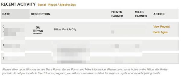 Hilton Recent Stays