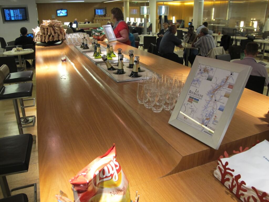Wine and Champagne Selection at the Air France Paris CDG Airport Salon Lounge