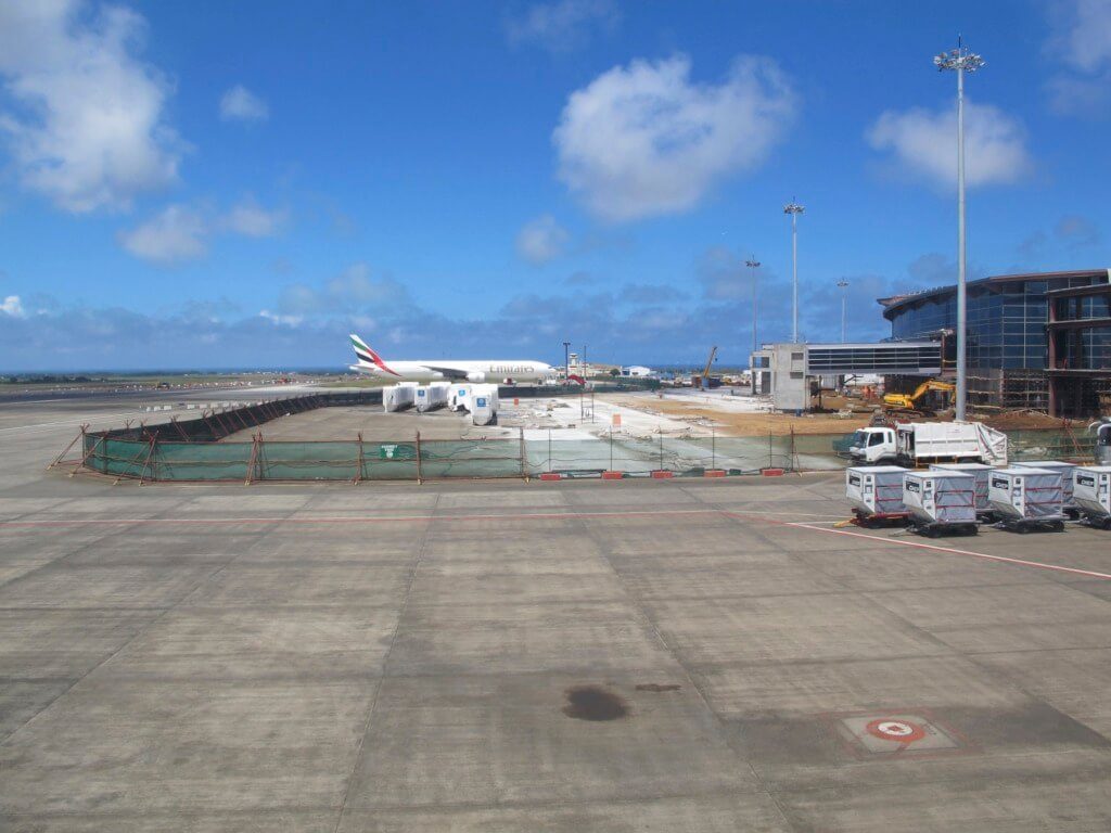 View of an Emirates Long Haul Plane at Mauritius Airport
