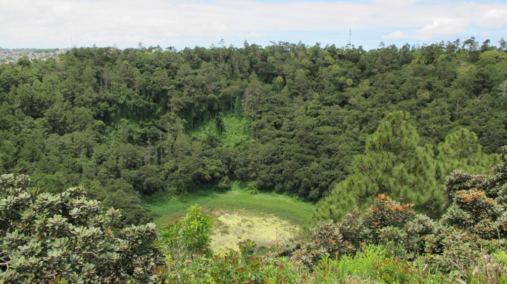 A crater from an old volcano in Mauritius
