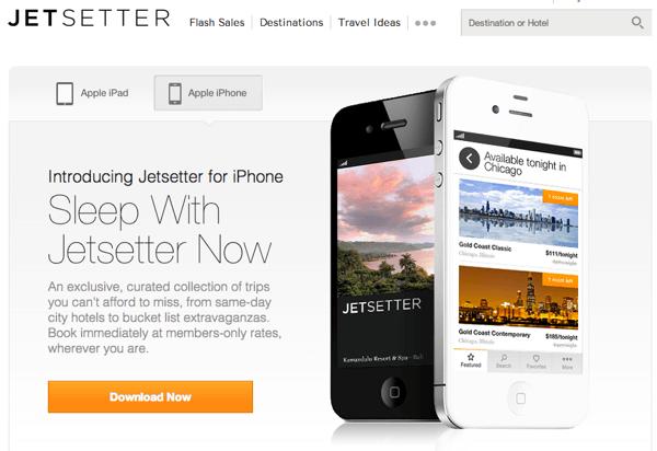 Jetsetter iPhone App Splash Page