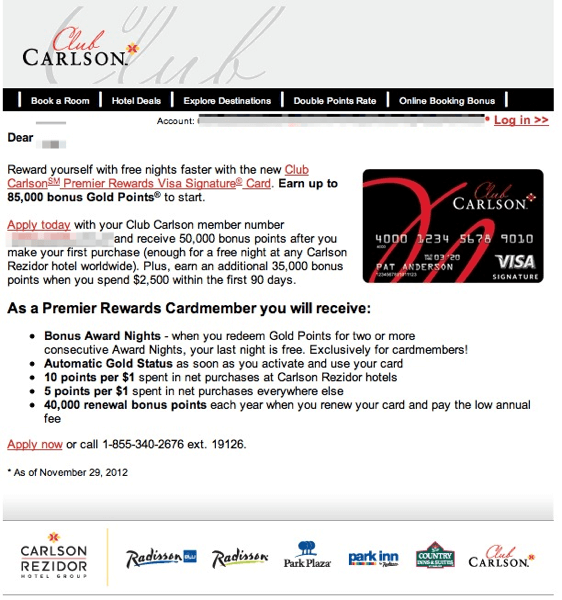 Club Carlson Signup Offer