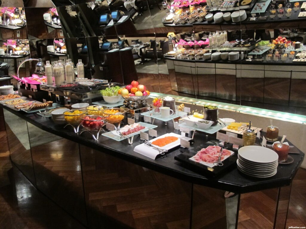 Meats and Fruits at Breakfast Buffet