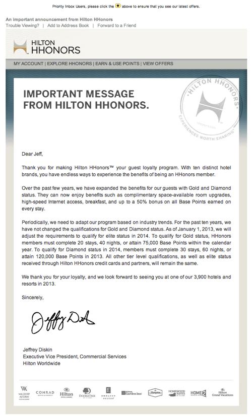 Hilton Honors Status Requirements Change