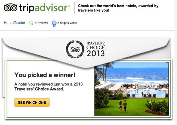 Trip Advisor Picked a Winner Email
