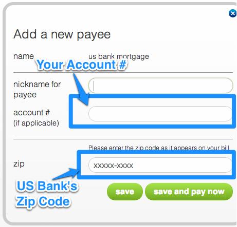 US Bank mortgage Payee