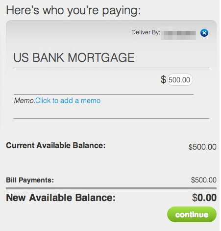 US Bank mortgage Payment