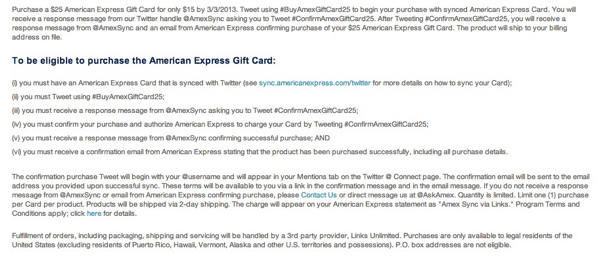 Amex Sync Terms and Conditions