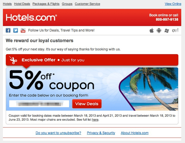 Hotel com discount coupon