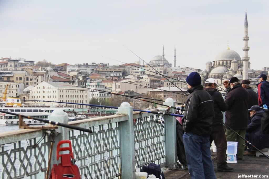 Fishermen on the Galata Bridge in Istanbul