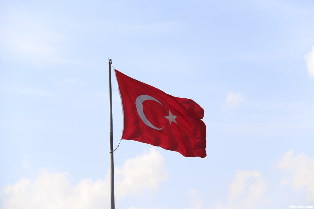 Turkish Flag on Bosphorus River