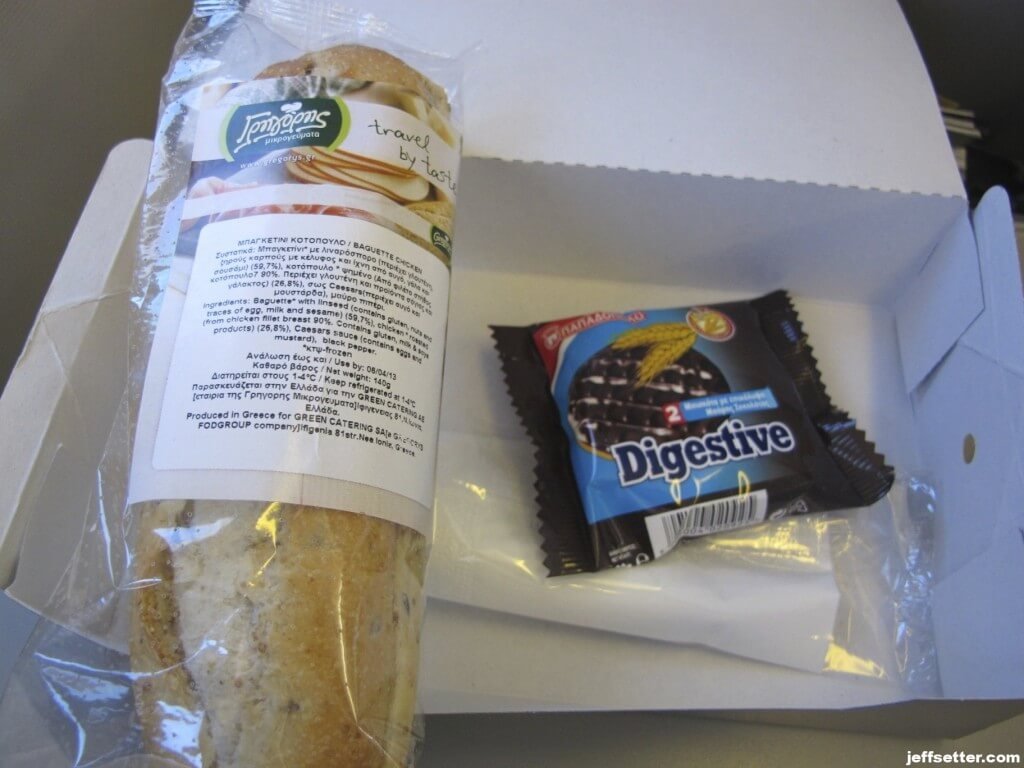 Snack on Aegean Air Economy Class 90 minute flight