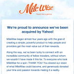 MileWise Acquired by Yahoo!, Immediately Shut Down