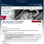 Delta Business Class With Lie Flat Seats and Westin Heavenly Bedding