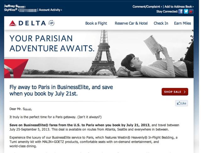 Delta Business Class Fares to Paris