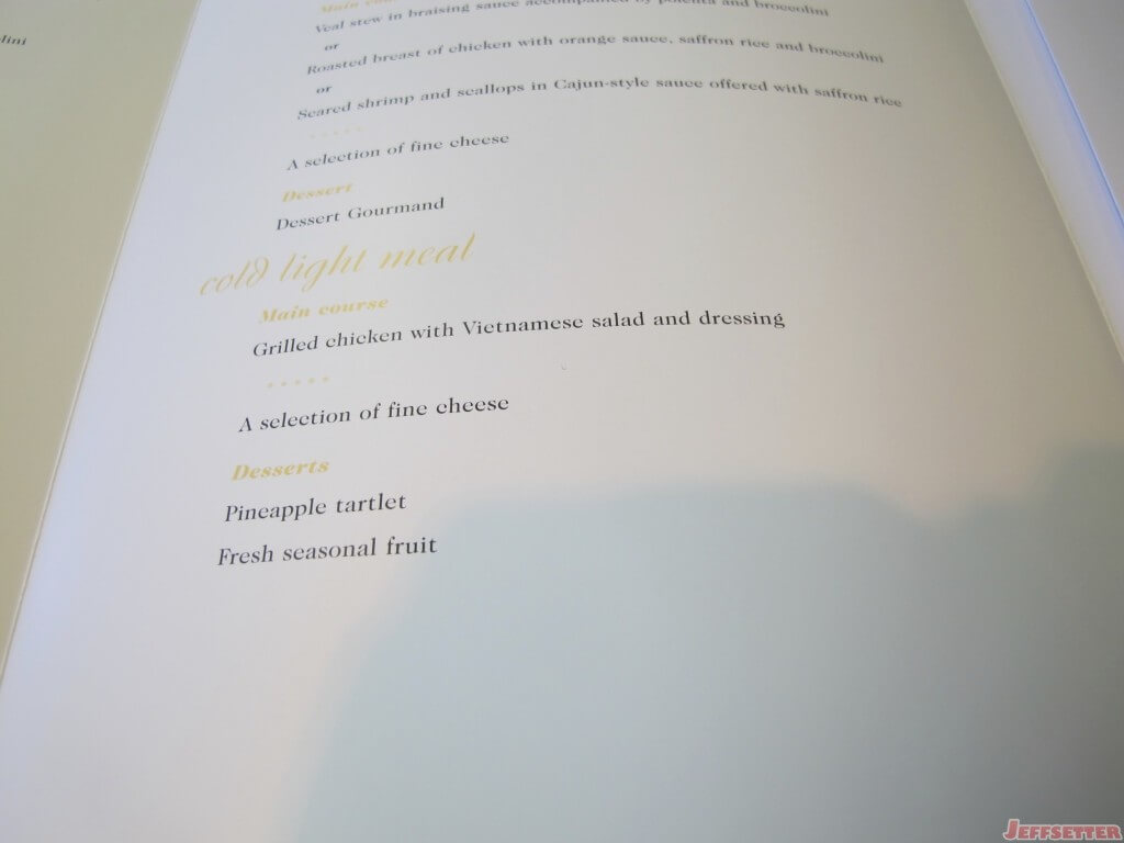 Second Dinner Menu