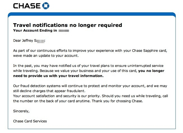 Travel Notifications No Longer Required with Chase Sapphire Preferred