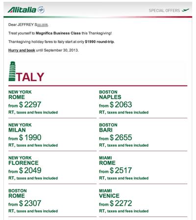 Alitalia Business Class Fare Deal