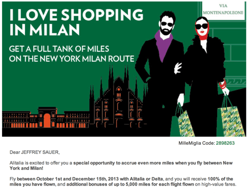 Alitalia Milan Bonus Miles