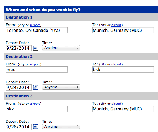 Select Multiple Destinations