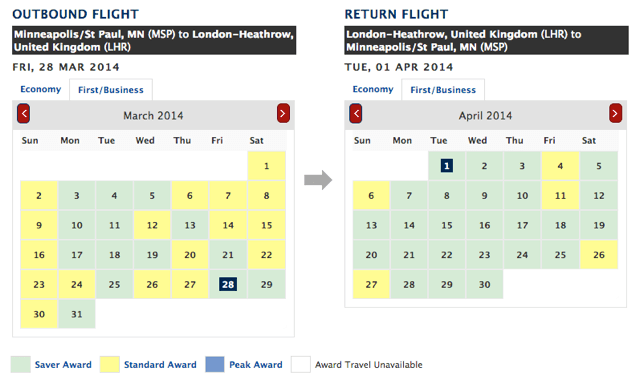 MSP LHR Award Availability
