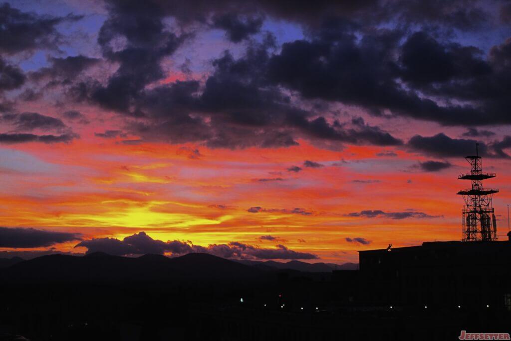 Sunset Over Asheville North Carolina S Blue Ridge Mountains