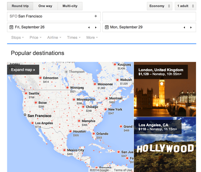 Google Flight Search out of SFO