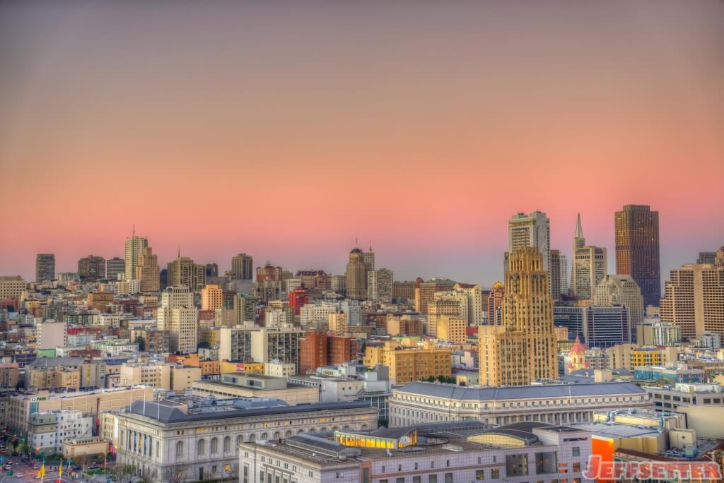 San Francisco Sunset over Financial District