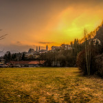 Sun Setting on the Town of Berchtesgaden, Germany