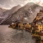View of Hallstatt, Austria with Mountains in the Background
