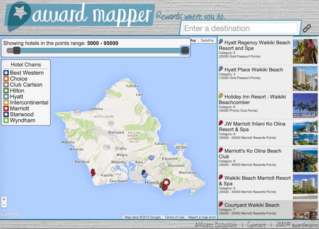 Award Mapper Oahu Hotels
