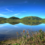 Green Mountain Reflection on a Reservoir in Marin County, California