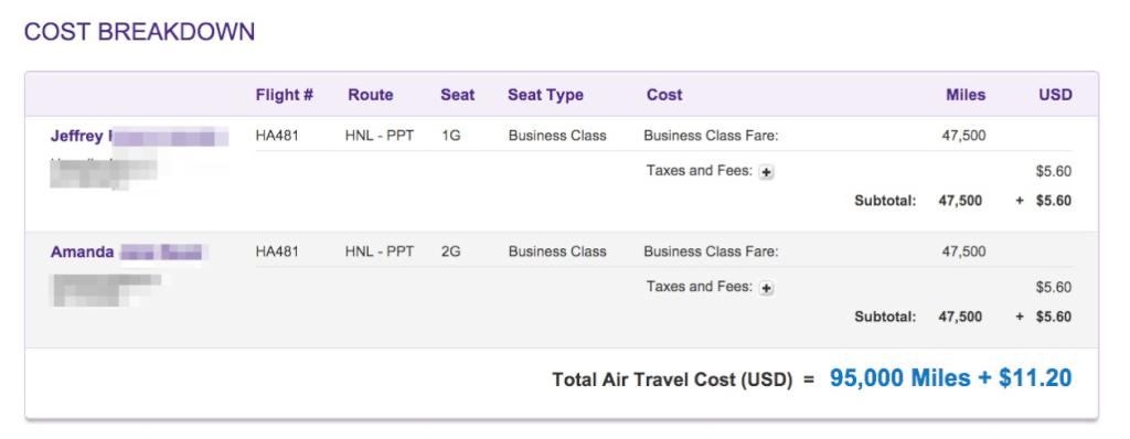Hawaiian Miles Cost