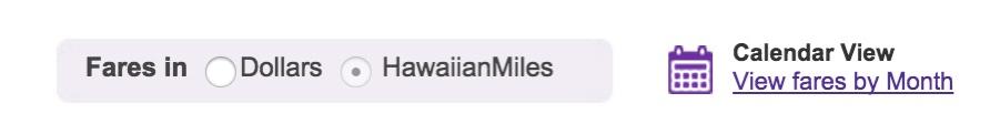 Hawaiian Toggle Miles Dollars