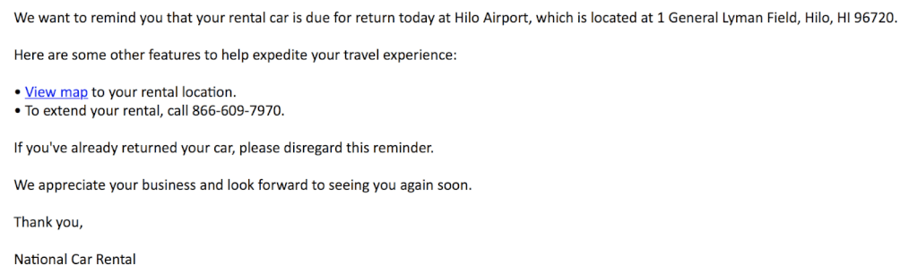 Email to Return