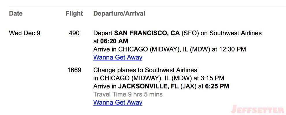 Southwest Flight Info