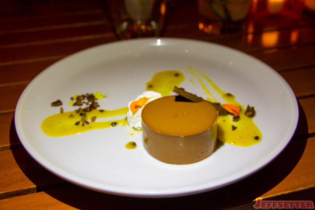 Waialua Chocolate Custard, lilikoi sauce