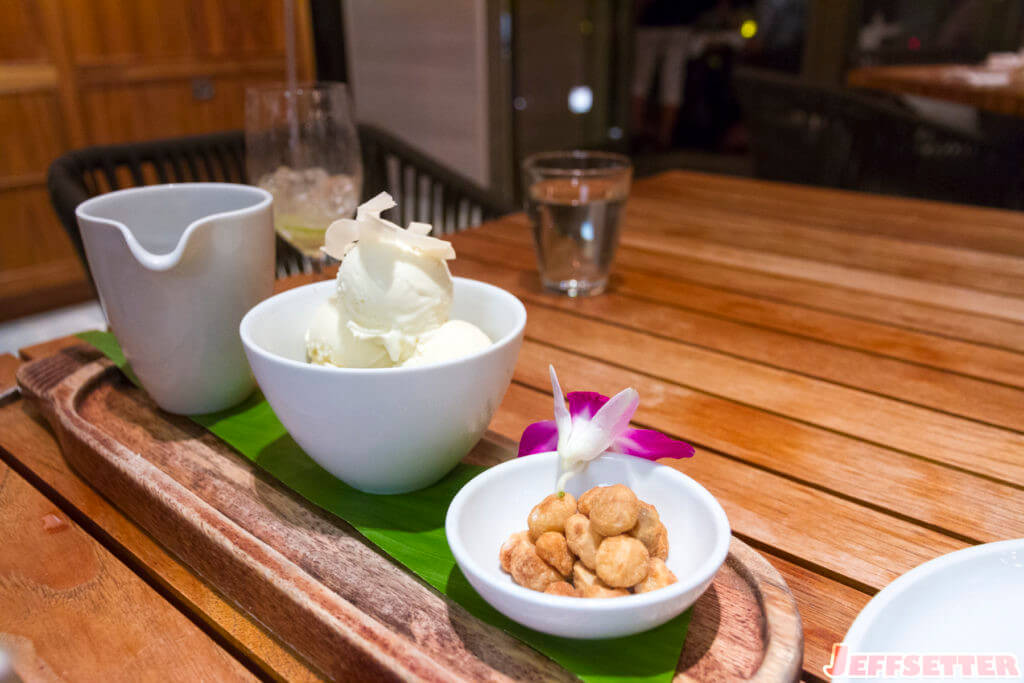 Coconut Sundae. Coconut ice cream, chocolate sauce, coconut cake, macadamia