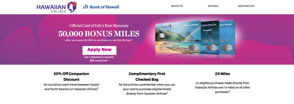 50,000 HawaiianMiles Sign-up Bonus