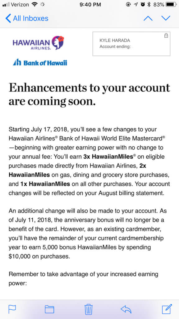 Hawaiian Airlines Card Annual Fee Increase