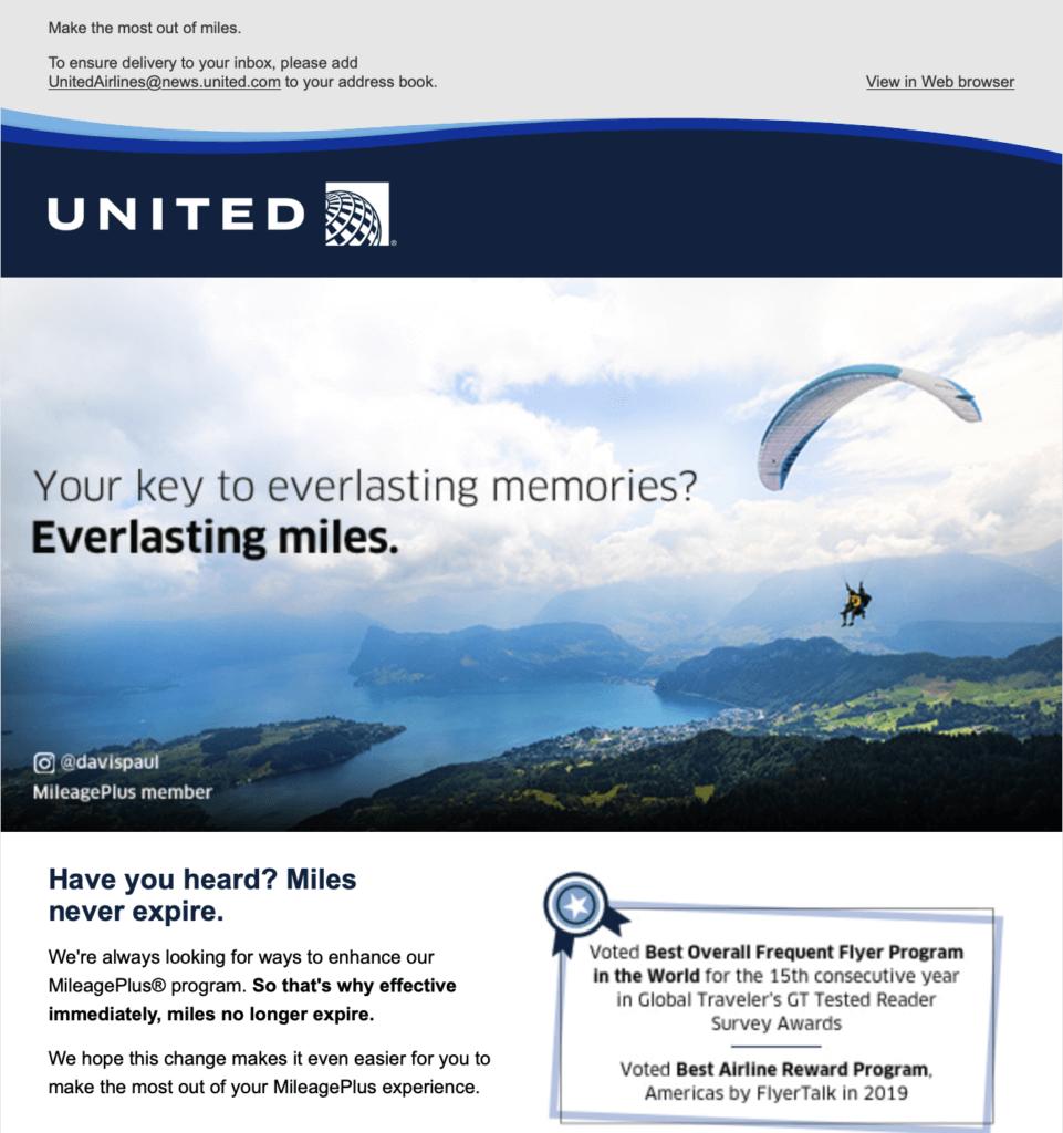 United MileagePlus Miles No Longer Expire
