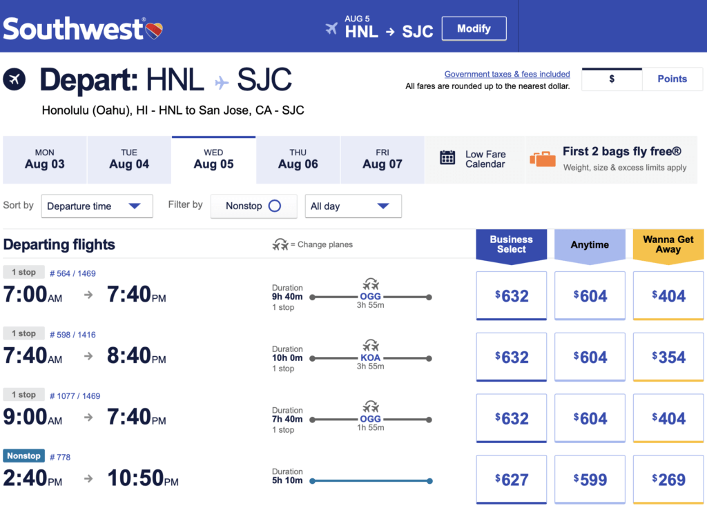 Hawaii-West Coast Pricing Observations