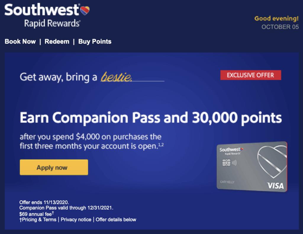 Southwest Companion Pass Sign-Up Bonus