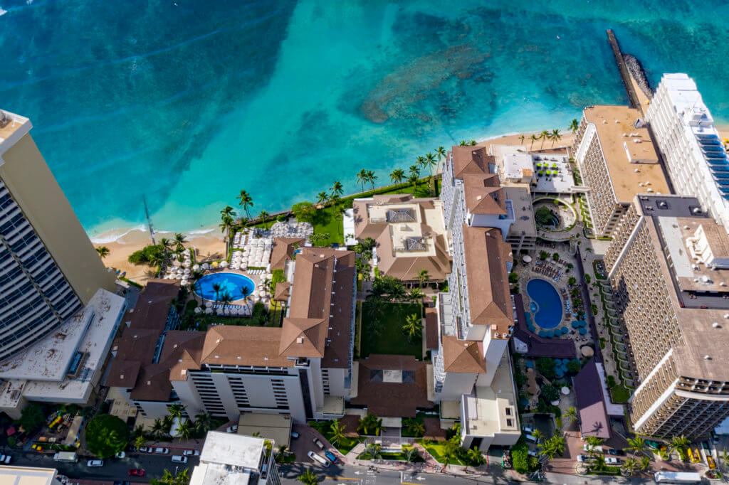 aerial view of the Outrigger Reef Waikiki Beach Resort