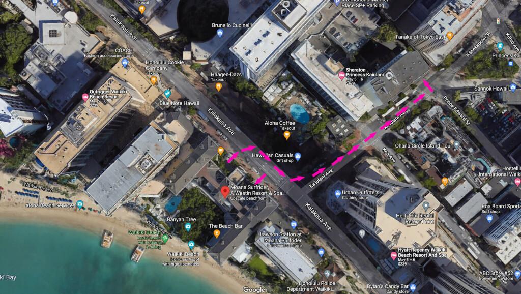 Moana Surfrider Self-Parking Map